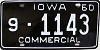 1960 IOWA Commercial license plate # 1143, Bemer County