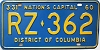 1960 Washington D.C. license plate # RZ-362