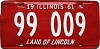 1961 ILLINOIS old license plate # 99 009