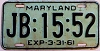 1961 MARYLAND license plate # JB-15-52