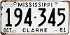 1961 Mississippi # 194-345, Clarke County
