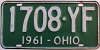 1961 OHIO license plate # 1708-YF