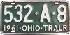 1961 OHIO Trailer license plate # 532-A-8