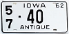 1962 Iowa Antique # 40, Linn County