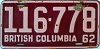 1962 BRITISH COLUMBIA license plate # 116-778