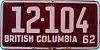 1962 BRITISH COLUMBIA license plate # 12-104