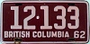 1962 BRITISH COLUMBIA license plate # 12-133