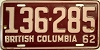 1962 BRITISH COLUMBIA license plate # 136-285