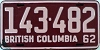 1962 BRITISH COLUMBIA license plate # 143-482