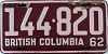 1962 BRITISH COLUMBIA license plate # 144-820