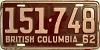 1962 BRITISH COLUMBIA license plate # 151-748