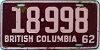 1962 BRITISH COLUMBIA license plate # 18-998