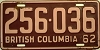 1962 BRITISH COLUMBIA license plate # 256-036
