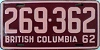 1962 BRITISH COLUMBIA license plate # 269-362