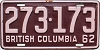 1962 BRITISH COLUMBIA license plate # 273-173