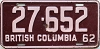 1962 BRITISH COLUMBIA license plate # 27-652