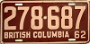 1962 BRITISH COLUMBIA license plate # 278-687
