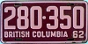 1962 BRITISH COLUMBIA license plate # 280-350