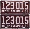 1962 British Columbia pair # 123-015
