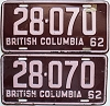 1962 British Columbia pair # 28-070