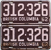 1962 British Columbia pair # 312-326