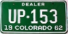 1962 Colorado Dealer # UP-153, Fremont County