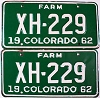 1962 Colorado Farm Truck pair # XH-229, Chaffee County