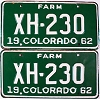1962 Colorado Farm Truck pair # XH-230, Chaffee County