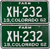1962 Colorado Farm Truck pair # XH-232, Chaffee County