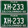1962 Colorado Farm Truck pair # XH-233, Chaffee County
