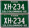 1962 Colorado Farm Truck pair # XH-234, Chaffee County