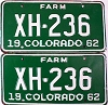 1962 Colorado Farm Truck pair # XH-236, Chaffee County