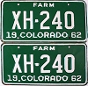 1962 Colorado Farm Truck pair # XH-240, Chaffee County
