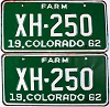 1962 Colorado Farm Truck pair # XH-250, Chaffee County