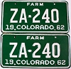 1962 Colorado Farm Truck pair # ZA-240, Custer County