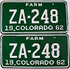1962 Colorado Farm Truck pair # ZA-248, Custer County