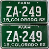 1962 Colorado Farm Truck pair # ZA-249, Custer County