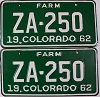1962 Colorado Farm Truck pair # ZA-250, Custer County