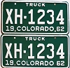 1962 Colorado Truck pair # XH-1234, Chaffee County