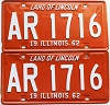 1962 Illinois pair # AR 1716