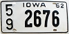 1962 IOWA license plate # 2676, Lucas County