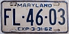 1962 MARYLAND license plate # FL-46-03