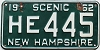 1962 NEW HAMPSHIRE license plate # HE 445