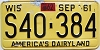 1962 Wisconsin license plate # S40-384