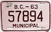 1963 British Columbia Municipal # 57894