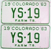 1963 Colorado Farm Tractor pair low # YS-19, Douglas County