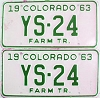 1963 Colorado Farm Tractor pair low # YS-24, Douglas County