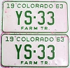 1963 Colorado Farm Tractor pair low # YS-33, Douglas County