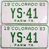 1963 Colorado Farm Tractor pair low # YS-41, Douglas County