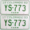 1963 Colorado Farm Truck pair # YS-773, Douglas County
